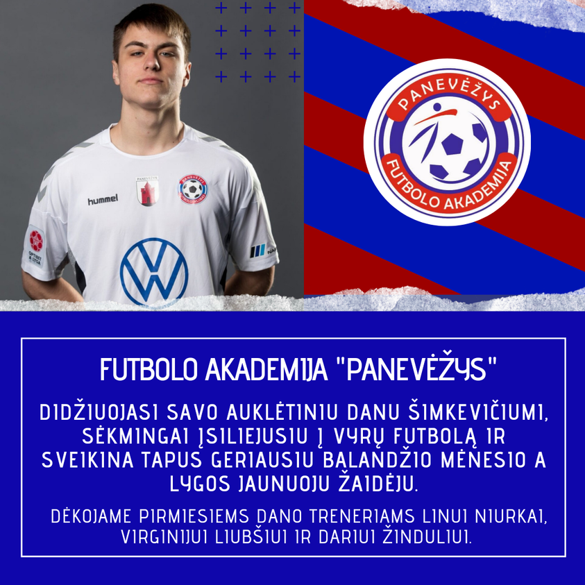 Sveikinimai FK Panevėžys vartininkui Danui Šimkevičiui – 18-metis tapo geriausiu balandžio mėnesio jaunuoju žaidėju!